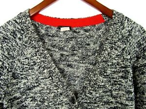 J-Crew-Womens-Sweater-Black-and-White-Wool-Blend-Cardigan-Small-Preppy-Casual