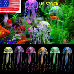 Image Is Loading Silicone Jellyfish Aquarium Decoration Artificial Glowing Effect Fish