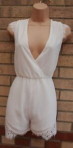 Freundlich White Lace Trim V Neck Culotte Chiffon Party Summer Playsuit All In One 12 M