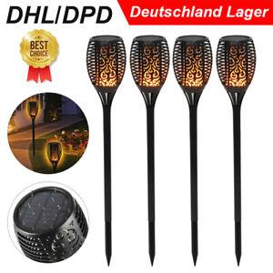 Solar Flackernde 96 LED Landschaft Lampen Tanzen Flamme Fackel Garten Licht Neu