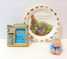 Beatrix Potter PETER RABBIT Lot of 3- Plate-Photo Frame- Plush Rattle