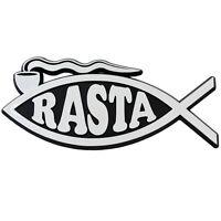 F69 - Rasta Fish Silver Finish Car Emblem