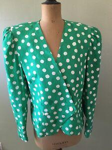 Details about vtg rickie freeman teri jon jacket 16 plus size green polka  dot silk - size 16
