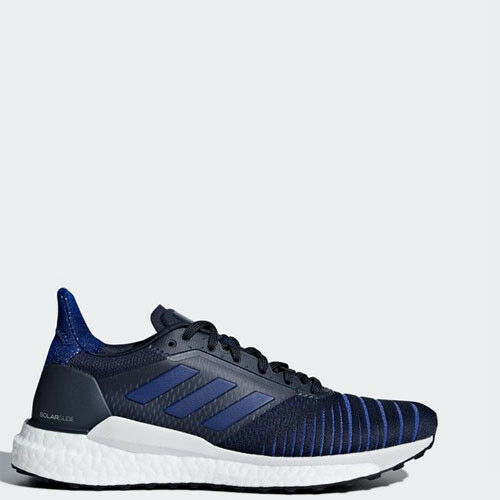 Adidas BB6629 Kvinnor Solar Glide springaning skor svart vitt vitt vitt blå skor  bekväm