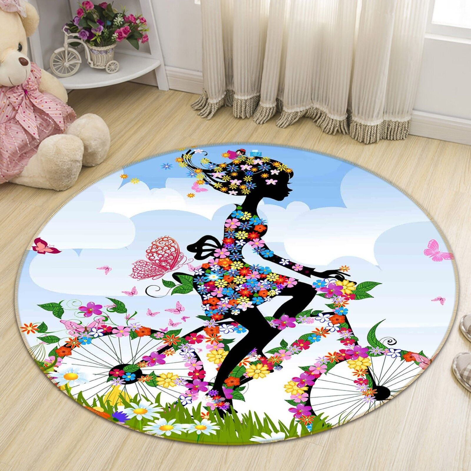 3D Flower Girl 8 Non Slip Rug Mat Room Mat Round Quality Elegant Photo Carpet US