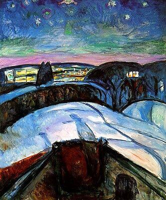 STARRY NIGHT HEAD SHAPE SNOW LUMINOUS HORIZON PAINTING BY EDVARD MUNCH REPRO