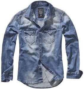 Brandit-Herren-Hemd-Riley-Denim-Jeanshemd-Shirt-S-M-L-XL-XXL-3XL-4XL-5XL-NEU
