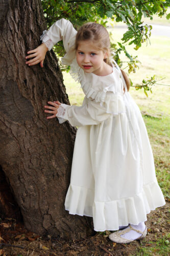 Victorian-Edwardian Day Dress-WW1-The Great War WHITE DRESS Fancy Dress Costume