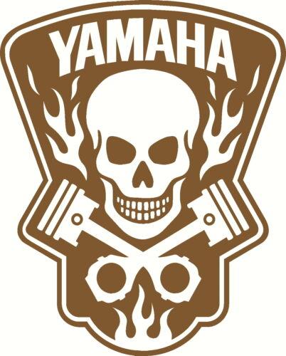 yamaha skull in flames vinyl decal window or bumper sticker