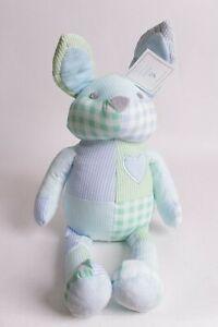 "Pottery Barn Kids Pink Yellow Gingham patchwork Bunny 21/"" plush stuffed animal"