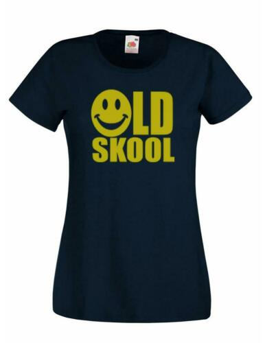 Ladies Black Old Skool Smilie happy smile Face T-Shirt Shirt Retro Rave 90s