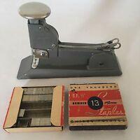 Vintage Stapler Chrome Industrial Desk Swingline No 13 1934 USA With Staples