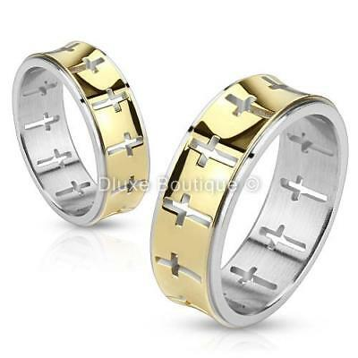 Stainless Steel 14k Gold IP Holy Cross Two-Tone Ring Band Size 5-13