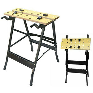 FOLDABLE WOODEN WORKBENCH BENCH WORK PORTABLE CLAMPING FOLDING WORKTOP TABLE DIY