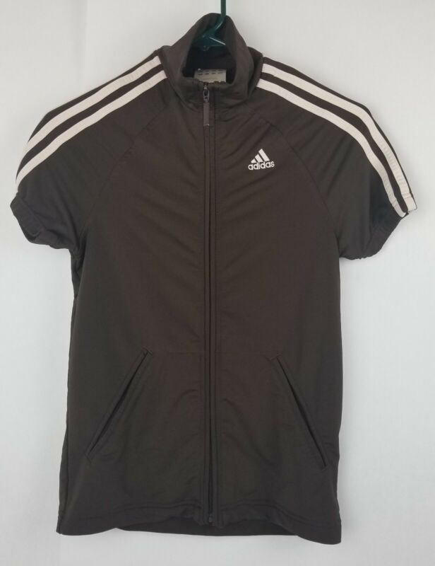 Adidas Womens Size Xs Xsmall Three Stripes Brown Full Zip Up Short Sleeve Jacket Supplement The Vital Energy And Nourish Yin