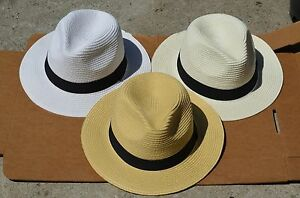 6b461a5e13946c Summer Cool Panama Wide brim Fedora Straw Made Indiana Jones Style ...