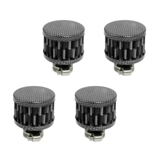 4 X Car Cool Clean Air Intake Filter Turbo Vent Crankcase Breather 12mm Carbon