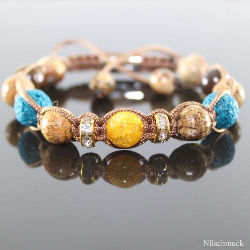 Señora petrol lava rock amarillo Opal Edelstein perlas Picture pulsera pulseras la Sra.