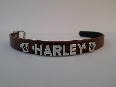 medium peronalised dog collar real english leather choose name &colour 20mm wide
