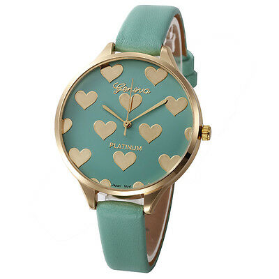 Women Casual Checkers Faux Leather Quartz Geneva Analog Love Heart Wrist Watch