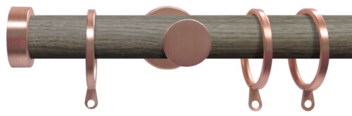 Classic Stu... Woodgrain // Rose Gold metal Curtain Poles Swish SOHO 28mm Pole