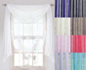 Voile-foulard-3-m-ou-5-M-Longueur-echarpes-Net-rideaux-FESTONS-amp-echarpe-Voile-Panel