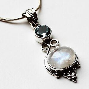 925-Sterling-Silver-Semi-Precious-Natural-Stone-Pendant-Blue-Topaz-amp-Moonstone