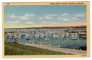 Monterey-California-1941-Curteich-Vintage-Linen-Postcard-Fishing-Fleet-at-Anchor