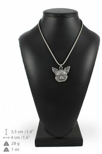 Chihuahua-type-2-silver-plated-pendant-on-the-silver-chain-Art-Dog-IE