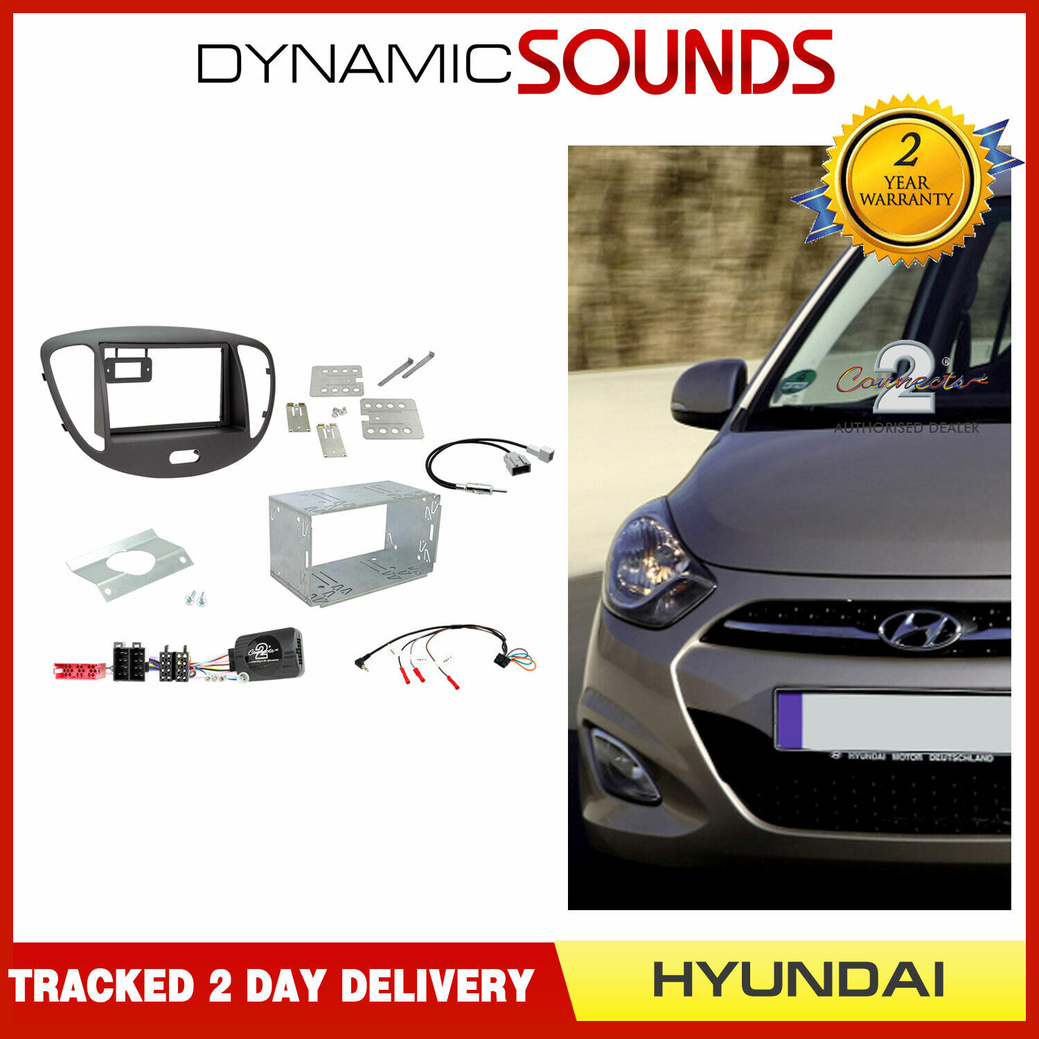 Hyundai i30 Double Din Fascia Panel Steering Control Car Stereo Fitting Kit