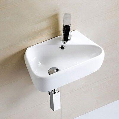 Bathroom Sink Wash Basin Wall Mounted Hung Ceramic Bowl Left Handed Modern White