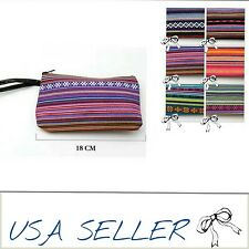TRIBAL BOHO FLORAL GEO STRIPED GIFT LEATHER STRAP CLUTCH PURSE SMALL COIN BAG US