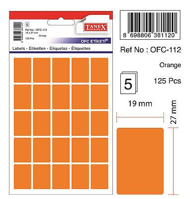 250 Etiketten 19 x 27 mm TANEX OFC-112 Vielzweck Etiketten farbig gelb