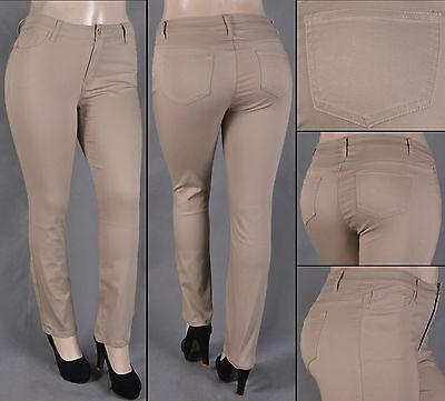#SG-75328X NWT Stretch Khaki Cotton Twill Midi Skirt,size XL to 3XL