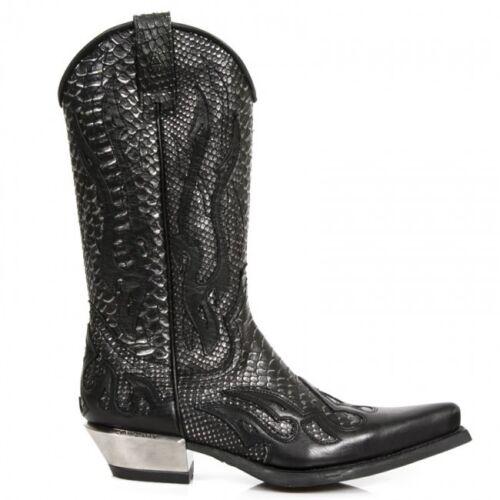 Stivali pelle da Newrock in argento pelle di serpente New cowboy in nera Rock C2 western 7921 qO01w4IO