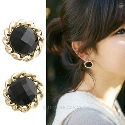 Stylish Women Retro Vintage Black Round Flower Crystal Ear Stud Earrings Earbob