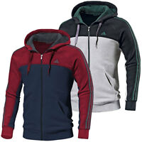 adidas Men's 3 Stripe Full Zip Hoodie 100% Cotton Hooded Jacket Sport Track Top