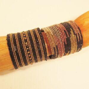 Set-of-2-Gold-Black-Wide-Bling-Boho-Cuff-Handmade-Bracelets-Bali-Seed-Bead