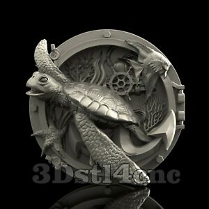 Underwater world Aspire Carving Machine Turtle Router Engraver Sea Animal cnc file Shapeoko X Cut3d Vcarve 3D STL Model Artcam