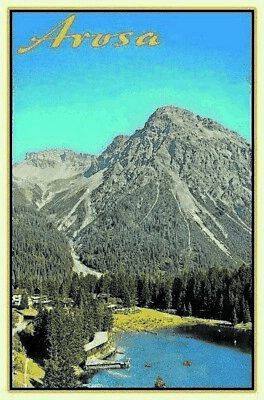 Original Arosa Mountain Views Metal Sign Signboard Arched Metal Tin Sign 7 7/8x11 13/16in We Have Won Praise From Customers Collectibles Original