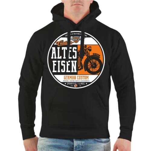 Kapuzenpullover Altes Eisen Hoodie Biker Bikes Oldtimer Motorrad Customs Hobby