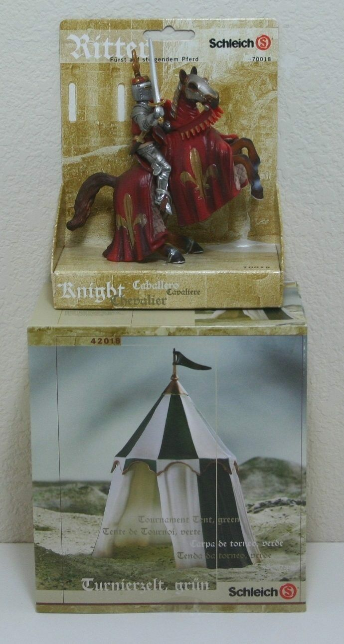NEW SCHLEICH MEDIEVAL SET + FIGURE LOT GREEN TOURNAMENT TENT PRINCE KNIGHT HORSE