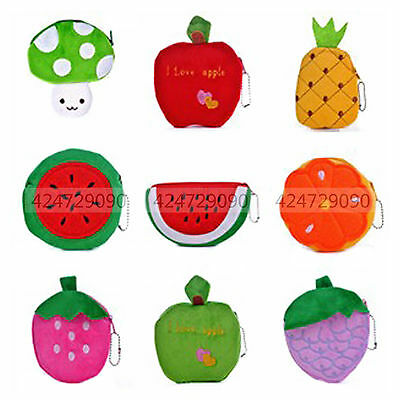 New Cute Women Fruits Soft Plush Mini Coin Purse Zipper Bag Change Purse YCI0008