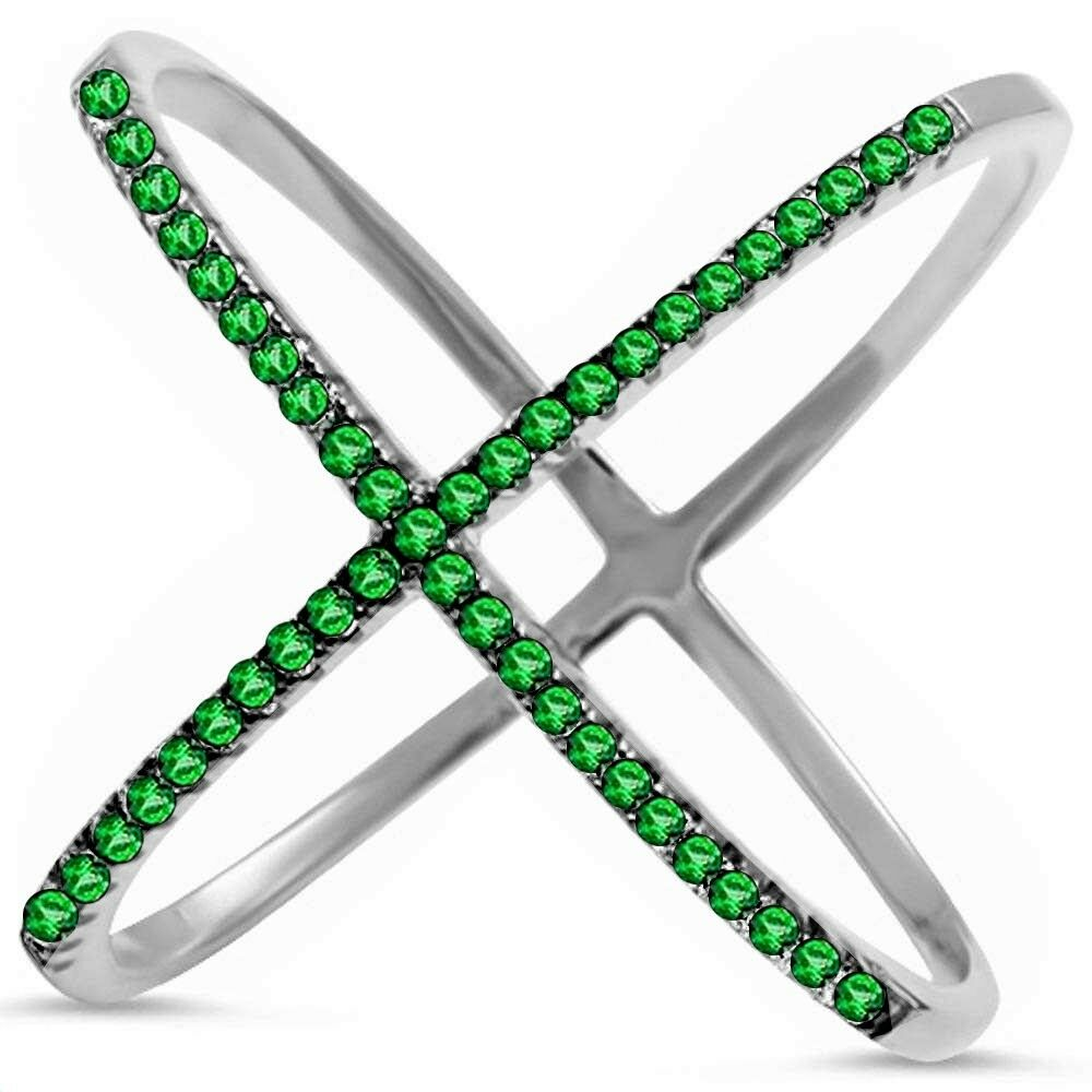 14kt White gold .35ct Natural Green Emerald X Criss Cross Ring Size 6.5