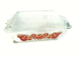 Pyrex Dish w/ Lid Opaque Orange Red Birds  Floral Prints