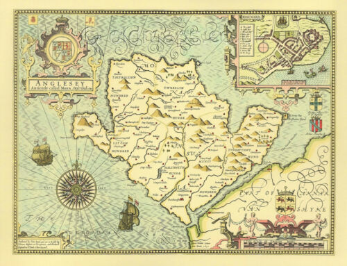 Anglesey Map PRINTED Full Size Replica 1610 John Speed Old Map GREAT Welsh GIFT