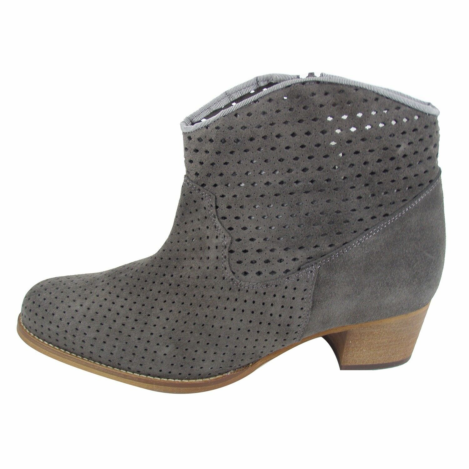 Size 8 (UK Size 6 / ) Women's Grey Suede Ankle Boots with wood block heel