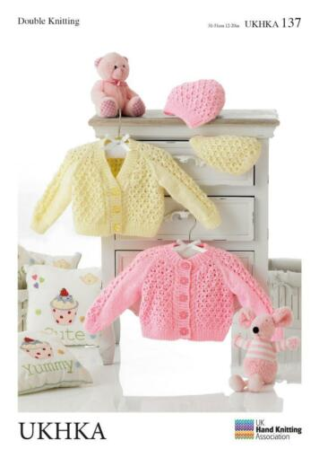 Double Knitting Pattern Cardigans Hat Wool Premature To 12 Months Baby 31-51 cm