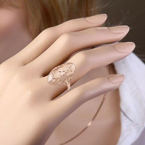 Rotgold Ring Rose Gold 585 Goldring Markisе Vintage-Stil Glänzend NEU
