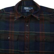 POLO RALPH LAUREN Whitman 100% Wool Flannel Dark Plaid Mens Shirt - L NEW W/TAGS